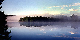 /images/133/1997-08-tema-morning-fog-pano.jpg - #00049: Morning on Rabbit Lake in Temagami, Canada … August 1997 -- Rabbit Lake, Temagami, Ontario.Canada