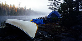 /images/133/1997-10-tema-fog-canoe-pano.jpg - #00069: morning at Anima Nipissing lake … Oct 1997 -- Anima Nipissing Lake, Temagami, Ontario.Canada