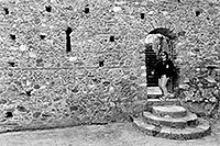 /images/133/1998-12-greece-castle-bw2.jpg - #00197: Christina at a castle near Sparti … Dec 1998 -- Sparti, Greece