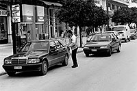 /images/133/1998-12-sparti-street-bw1.jpg - #00240: Mercedes in Sparti … Dec 1998 -- Sparti, Greece
