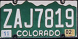 /images/133/1999-04-plates-colorado-white.jpg - #00303: Colorado - cool license plates … from all around -- Colorado