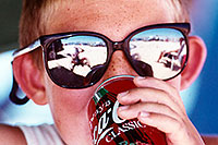 /images/133/1999-07-lake-powell-sungla2.jpg - 00335: reflection of me and Christina … Coca Cola Classic … July 1999 -- Lone Rock, Lake Powell, Utah