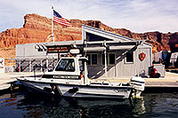 /images/133/1999-08-lake-powell-ranger.jpg - #00353: National Park Service motorboat … Dangling Rope Ranger Station, along Lake Powell … August 1999 -- Dangling Rope Marina, Lake Powell, Utah