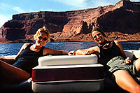 /images/133/1999-09-lake-powell-seva2.jpg - #00406: Sandra and Eva at Lake Powell … Sept 1999 -- Lake Powell, Utah