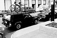 /images/133/1999-11-chicago-bikes-bw.jpg - #00449: the perfect parking spot for my Jeep -- close by, visible, illegal … Nov 1999 -- Chicago, Illinois