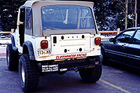 /images/133/1999-11-wrangler-people-acc.jpg - 00463: `Drive carefully, 90% of all people are caused by Accidents` … white Jeep Wrangler at Maroon Bells … Nov 1999 -- Maroon Bells, Colorado