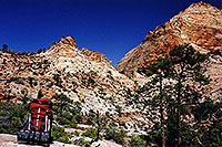 /images/133/2000-04-greater-zion-peak-g.jpg - 00467: Backpacking with Rakesh … April 2000 -- Greater Zion Wilderness, Utah
