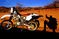 /images/133/2000-04-xr-bumble-bee-shadow.jpg - #00478: my Honda XR400 near Crown King … April 2000 -- Bumble Bee, Arizona