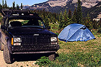/images/133/2000-06-durango-jeep-tent.jpg - #00495: 32 F nights at 10,000ft by Wolf Creek Pass … June 2000 -- Wolf Creek Pass, Colorado