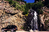 /images/133/2000-07-wolfcreek-road-waterfall.jpg - 00531: Waterfall by the road at Wolf Creek Pass … July 2000 -- Wolf Creek Pass, Colorado