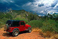 /images/133/2000-08-sedona-red-jeep.jpg - #00600: red Jeep Wrangler during monsoon season at Wet Beaver Creek by Sedona … August 2000 -- Sedona, Arizona