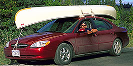 /images/133/2000-09-tema-jp-cartop.jpg - #00684: Peter driving Chicago rented red Ford Taurus … returning from Lake Temagami … Sept 2000 -- Lake Temagami, Temagami, Ontario.Canada