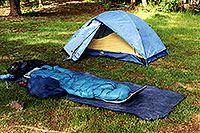 /images/133/2000-12-sleeping-bag-tent.jpg - #00735: without tent, but tent ready in White Mountains … August 2000 -- White Mountains, Arizona