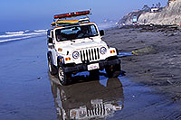 /images/133/2001-03-cali-jeep-lifeguard.jpg - #00766: White Jeep Wrangler with surfboard on top, loud speaker at front … Lifeguards at Encinitas … March 2001 -- Encinitas, California