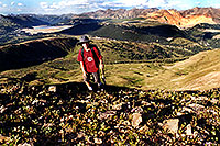 /images/133/2001-07-leadville-kyle-top.jpg - #00830: Kyle … almost at 12,500ft top … July 2001 -- Chalk Mountain, Leadville, Colorado