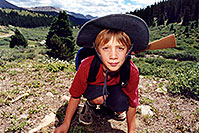 /images/133/2001-07-leadville-kyle4.jpg - #00827: Kyle … hiking to 12,500ft … July 2001 -- Chalk Mountain, Leadville, Colorado