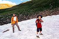/images/133/2001-07-leadville-snowfield.jpg - #00835: Martin & Kyle … almost at 12,500ft top … July 2001 -- Chalk Mountain, Leadville, Colorado