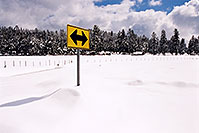 /images/133/2002-03-flagstaff-yellow-sign.jpg - #00945: snow snow everywhere … near house with 7 dogs… March 2002 -- Flagstaff, Arizona