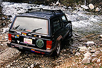 /images/133/2002-06-colo-castle-jeep.jpg - #00957: my Cherokee crossing a river … June 2002 -- Castle Creek Road, Aspen, Colorado