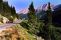 /images/133/2002-06-independence-road1.jpg - #00963: red Jeep Grand Cherokee heading to Aspen from Independence Pass … June 2002 -- Independence Pass, Colorado