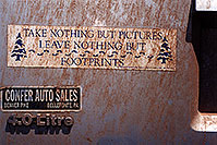/images/133/2002-06-jeep-footprints-pictures.jpg - #00954: `Take Nothing but pictures, leave nothing but footprints` … Jeep from Pensylvania … July 2002 -- Flagstaff, Arizona