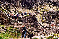 /images/133/2002-07-rysy-chains-people.jpg - #01024: descending Rysy mountains … July 2002 -- Rysy, Vysoke Tatry, Slovakia