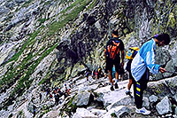 /images/133/2002-07-rysy-chains-people2.jpg - #01025: descending Rysy mountains … July 2002 -- Rysy, Vysoke Tatry, Slovakia