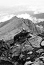 /images/133/2002-08-lomnicky-vert-bw4.jpg - #01098: views from top of Lomnicky Stit … August 2002 -- Lomnicky Stit, Vysoke Tatry, Slovakia