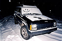 /images/133/2003-03-jeep-night-snowing.jpg - #01165: returning to my snowy jeep … March 2003 -- Snowbowl, Arizona