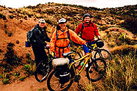 /images/133/2003-03-reavis-3-cyclists.jpg - #01151: wet Reavis Ranch Trail in Superstition Mountains … March 2003 -- Superstitions, Arizona