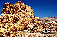/images/133/2003-06-supersti-road.jpg - #01264: white truck Apache Trail in Superstition Mountains … June 2003 -- Apache Trail Road #2, Superstitions, Arizona