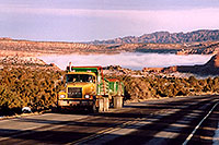 /images/133/2003-12-moab-fog-road1.jpg - #01404: Morning in Moab … before moving Phoenix to Denver … Dec 2003 -- Moab, Utah