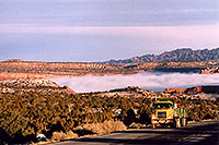 /images/133/2003-12-moab-fog-road2.jpg - #01399: Morning in Moab … before moving Phoenix to Denver … Dec 2003 -- Moab, Utah
