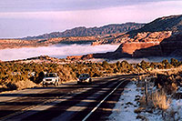 /images/133/2003-12-moab-fog-road3.jpg - #01401: Morning in Moab … before moving Phoenix to Denver … Dec 2003 -- Moab, Utah