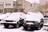 /images/133/2004-04-both-jeeps-snow.jpg - #01429: old Cherokee & new Grand Cherokee … in Lone Tree … April 2004 -- Remington, Lone Tree, Colorado