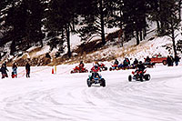 /images/133/2004-04-rainbow-falls-quads.jpg - #01479: Racing ATVs on ice … Rainbow Falls … April 2004 -- Woodland Park, Colorado