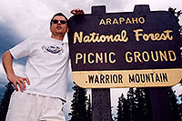 /images/133/2004-06-arapaho-sign-me.jpg - #01525: along road near Mt Evans … June 2004 -- Mt Evans, Colorado