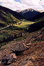 /images/133/2004-06-indep-twin-side1-v.jpg - #01524: La Plata Peak at 14,336 ft in the background … view from Independence Pass Road towards Twin Lakes … June 2004 -- La Plata Peak, Independence Pass, Colorado