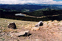 /images/133/2004-06-mtevans-echo-view1.jpg - #01546: view of Echo Lake from 12,000ft along Mt Evans road … June 2004 -- Echo Lake, Mt Evans, Colorado