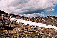 /images/133/2004-06-mtevans-hikers1.jpg - #01558: hikers at 12,000 ft … along  Mt Evans road … June 2004 -- Mt Evans, Colorado