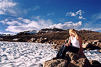 /images/133/2004-06-mtevans-holly07.jpg - #01566: Holly near Summit Lake … June 2004 -- Mt Evans, Colorado