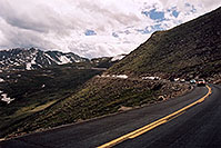 /images/133/2004-06-mtevans-road-cars2.jpg - #01580: view along Mt Evans road … June 2004 -- Mount Evans Road, Mt Evans, Colorado