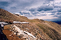 /images/133/2004-06-mtevans-road-view.jpg - #01583: view along Mt Evans road, with Lincoln Lake to the right … June 2004 -- Mount Evans Road, Mt Evans, Colorado