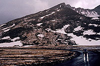 /images/133/2004-06-mtevans-sum-lake-car.jpg - #01589: Mt Evans road next to Summit Lake (right) … June 2004 -- Mount Evans Road, Mt Evans, Colorado