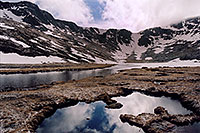 /images/133/2004-06-mtevans-summitlake1.jpg - #01590: Summit Lake at 12,800ft … June 2004 -- Summit Lake, Mt Evans, Colorado