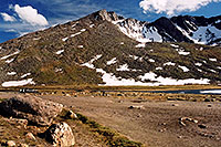 /images/133/2004-06-mtevans-summitlake2.jpg - #01601: Summit Lake at 12,800ft … June 2004 -- Summit Lake, Mt Evans, Colorado
