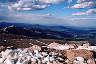 /images/133/2004-06-mtevans-view-down.jpg - #01600: view from top parking lot of Mt Evans … June 2004 -- Mt Evans, Colorado