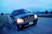 /images/133/2004-06-woodland-jeep-night.jpg - #01604: dirt road from Garden of the Gods to Woodland Park - Rampart Range Rd … June 2004 -- Rampart Range Rd, Woodland Park, Colorado