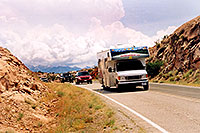 /images/133/2004-07-arches-rv-mntns.jpg - #01628: motorhome in Arches National Park … July 2004 -- Arches Park, Utah