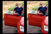 /images/133/2004-07-colo-aneta2-car.jpg - #01665: Aneta with her red Subaru … Colorado / Utah border … July 2004 -- Grand Junction, Colorado